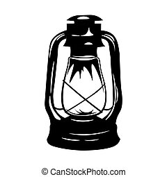 Antique Old Kerosene Lamp isolated on a white background. Monochromatic line art. Retro design. Vector illustration.