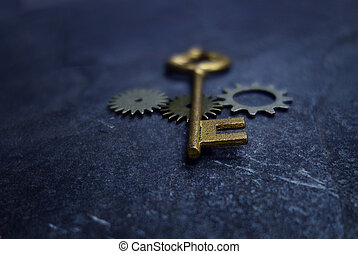 Vintage key and gears