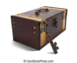 Vintage key and treasure chest