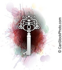 Vintage key in front of colorful splashes