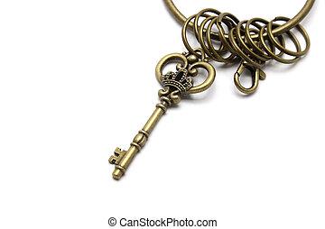Vintage key isolated on white background