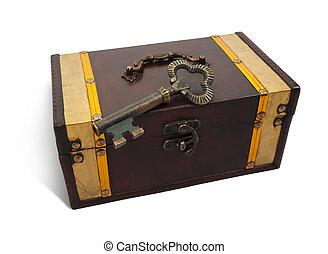 Vintage key on treasure chest