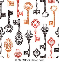 Vintage Key Seamless Pattern