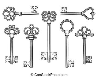 Vintage key vector set in engraving style. Antique...