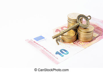 Vintage key with coins stack and euro banknote on white backgrounds