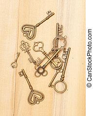 Vintage keys on wooden background