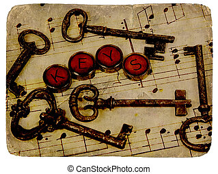 Vintage Keys - Various Vintage Keys With Aged Photo Look.