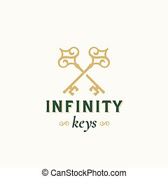 Vintage Keys with Infinity Swirls. Abstract Vector Sign,...