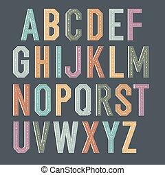 Vintage kids alphabet. Colorful vector letters