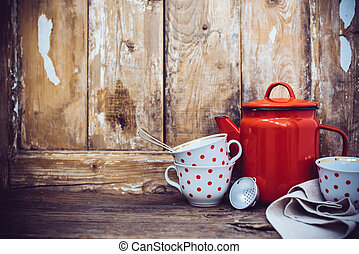 Rustic home decor - Vintage kitchen decor, red enamel coffee...