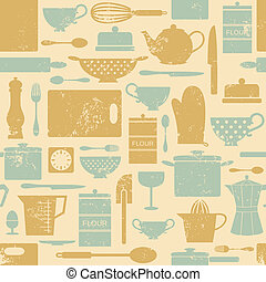 Vintage Kitchen Pattern - Seamless pattern with kitchen...