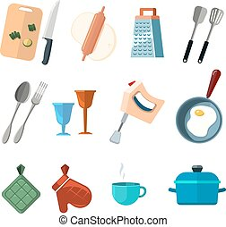 Vintage kitchen tools, home cooking vector icons. Set of tools for cooking fork and spoon, illustration of cocooking elements