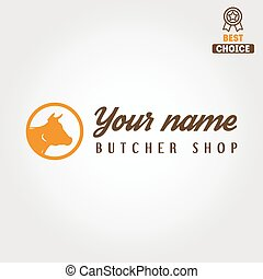 Vintage label templates and logo of butchery or meat shop