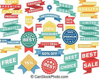 Vintage label banner tag sticker badge vector set