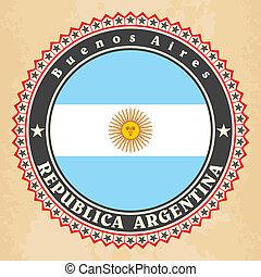 Vintage label cards of Argentina flag.