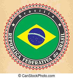 Vintage label cards of Brazil flag.