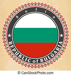 Vintage label cards of Bulgaria flag.