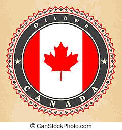 Vintage label cards of Canada flag.