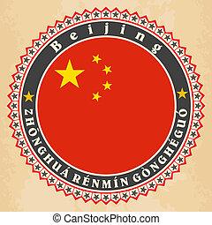 Vintage label cards of China flag.