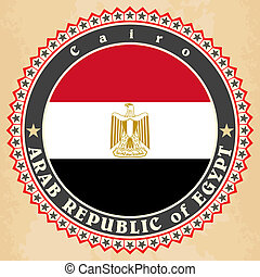 Vintage label cards of Egypt flag.