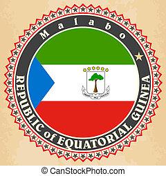 Equatorial Guinea flag. - Vintage label cards of Equatorial...