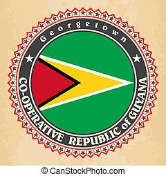 Vintage label cards of Guyana flag.