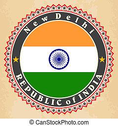 Vintage label cards of India flag.