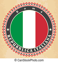 Vintage label cards of Italy flag.