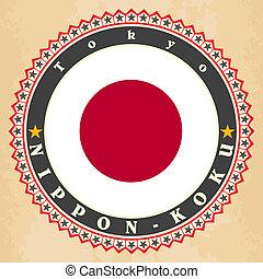 Vintage label cards of Japan flag.