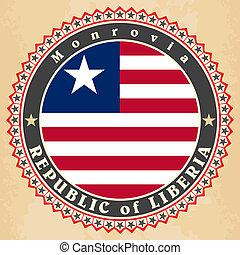 Vintage label cards of Liberia flag. Vector illustration