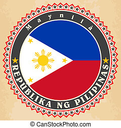 Vintage label cards of Philippines flag. Vector illustration