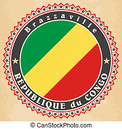 Republic of the Congo flag - Vintage label cards of Republic...