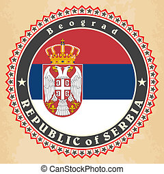 Vintage label cards of  Serbia flag. Vector