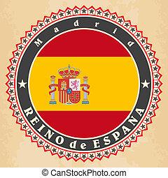 Vintage label cards of  Spain flag. Vector