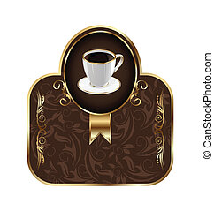 Vintage label for packing coffee, isolated on white background