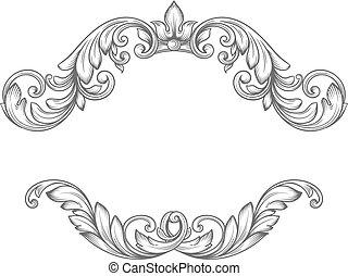 Vintage label frame design elements