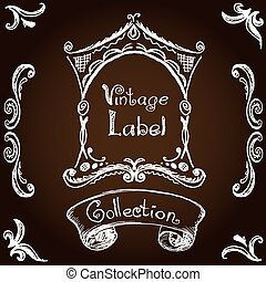 vintage label, hand drawing