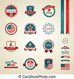 Vintage label independence day - Vintage label and ribbons...