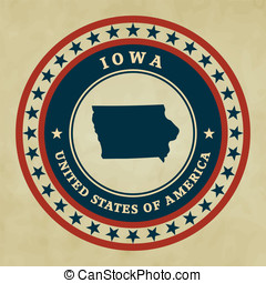 Vintage label Iowa - Vintage label with map of Iowa, vector