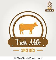 Vintage label, logo, emblem template of milk on background