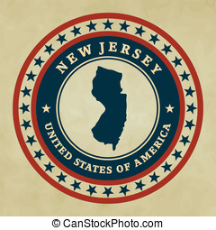Vintage label New Jersey - Vintage label with map of New...