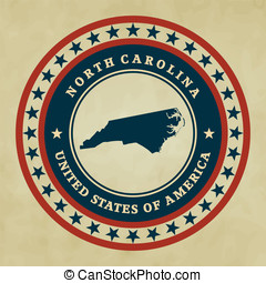 Vintage label North Carolina - Vintage label with map of...