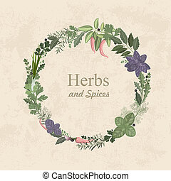 Vintage label of herbs and spices for your design
