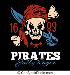 Vintage label pirates skull