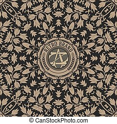 Vintage label premium with floral pattern