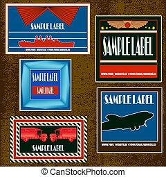 Vintage Label Set - A set of retro labels