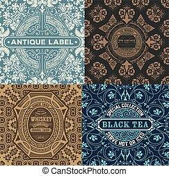 vintage label set with wallpaper  retro design