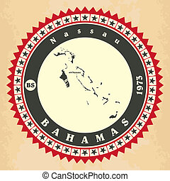 Vintage label-sticker cards of Bahamas.