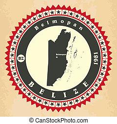 Vintage label-sticker cards of Belize. Vector illustration