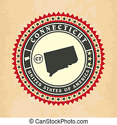 Vintage label-sticker cards of Connecticut
